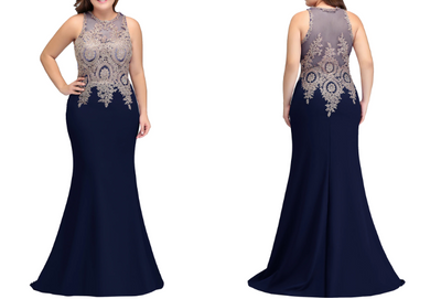 BH55 Plus size Beaded Mermaid Bridesmaid Dresses (4 Colors)