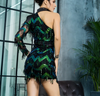 MX114 Sexy One-Shoulder Green Wave Tassel Sequins Party Dress