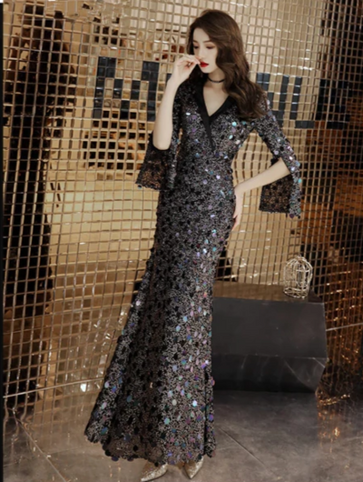 V-Neck 3/4 sleeves sequins Prom Dresses ( 4 Colors)