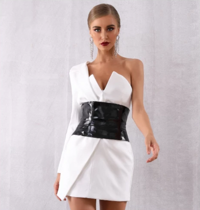 Sexy One Shoulder Party Dress with sash (White/Black)