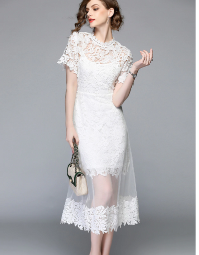MX116 Summer White Mesh Patchwork Lace Dresses