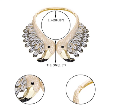 BJ73 Flamingo Bird Crystal Rhinestone Chokers Necklaces (4 Colors)