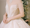 HW80 Luxury vintage high Neck tassel ball gown Wedding Dress