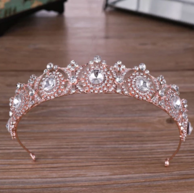 BJ109 Rhinestone wedding Tiaras (Rose Gold/Silver)