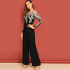 JR46 Elegant Embroidery Sheer Mesh Off Shoulder Jumpsuit