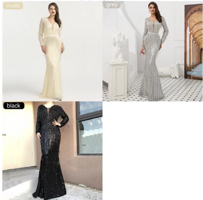 Elegant Long Sleeves Beading tassel Evening Gowns(Grey/Nude/Black)