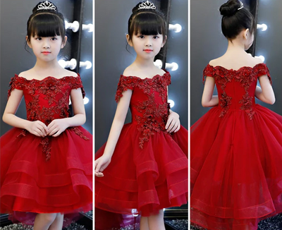 FG174 :3 Styles Birthday Dresses for Girl (Red Wine/Pink)