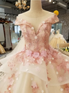 CG95 Lace 3d flowers embroidery Ball gown