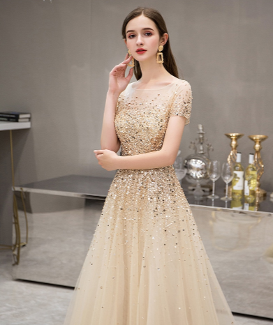 Handmade heavy Beaded Sequins Evening Gowns (4 Colors )
