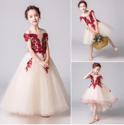 FG177 : 5 Styles new summer floral Princess Girl Dresses