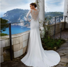 Minimalist Soft Stain Mermaid Wedding dress with chapel train