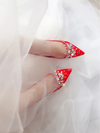 BS41 New Designs Diamond  Bridal Court Shoes (White/Red)