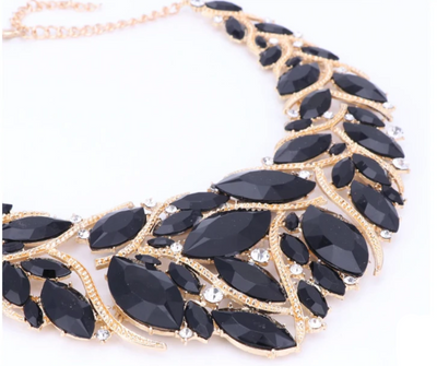 BJ109 Black rhinestones Bridal Jewelry sets:Necklace+Earrings(Silver/Gold)