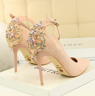 BS49 Pointed Toe Crystal Buckle Bridal High Thin Heels(5 Colors)