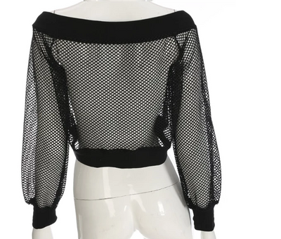 TJ66 Sexy Kpop Black Mesh See-Through Blouse