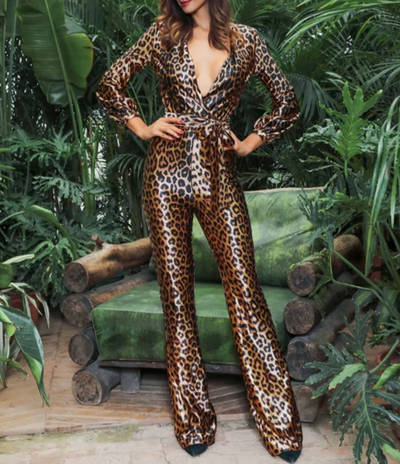 JR50 Deep V-Neck High Waist Leopard Print Elastic Jumpsuit