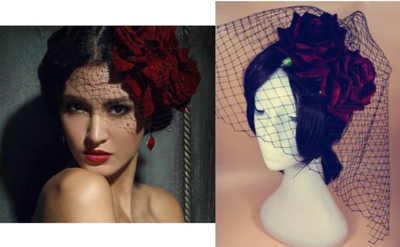 BJ117 Red Rose Gothic Lolita Hat