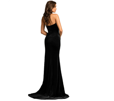 PP174 Classic High Split Velvet Evening Dresses (Black/Rosy/Green)
