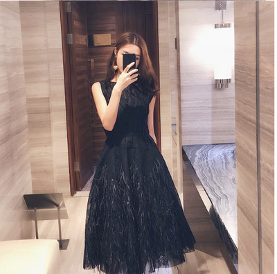 PP100 Backless Feathers Prom Dresses(Black/White)