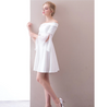 SS47 Simple Boat Neck Short Wedding Dress
