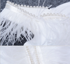 PP102 Slash Neck Feather Pearl Cocktail Dresses(Black/White)