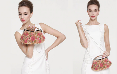 CB53 Vintage Flower embroidery Bridal Clutch bags ( 11 Colors)