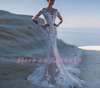 2in1 Long sleeve mermaid wedding dress with removable train