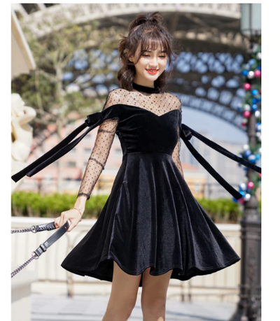MX30 KPop  Mesh Black Velvet Dress