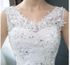 Plus size cheap Korean Style V-Neck Lace Floral Wedding Dress
