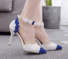 BS55 Lace Flower Pearls Wedding shoes(Blue&White/White)
