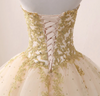 CG84 Strapless gold embroidery Quinceanera Dress