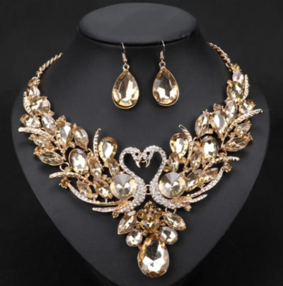 BJ126 Crystal swan shape Jewelry sets:necklace+earring(10 Colors)