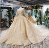 Luxurious champagne gold long sleeve Wedding Gown