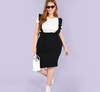 CK27 Plus size black knee length high waist skirt with ruffle strap