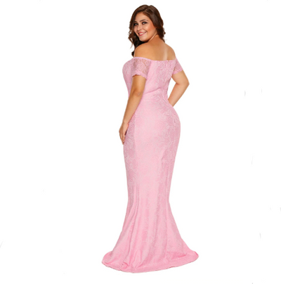 MX140 Elegant Plus Size Off Shoulder Lace Party dresses (Pink/White)