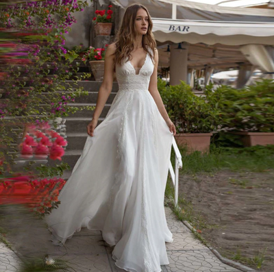 Vintage V neck boho wedding gowns