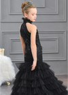 FG310 Black ruffle mermaid Pageant Gown for Girls