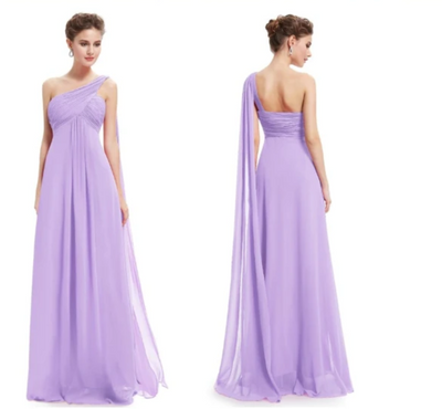 PP12 Classy One Shoulder Chiffon Evening Dresses(7 Colors)