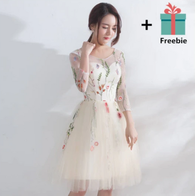 PP25 Floral embroidery Champagne Prom Dresses