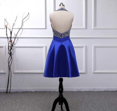 PP04 Blue Crystals Beaded Backless Cocktail Dress