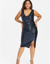 MX141 Plus Size Sparkly V Neck Sheath Party Dress