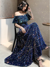 Off-The-Shoulder sequin Korean Prom Dress