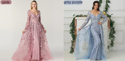 Long Sleeves Mermaid  Evening Dresses (Pink/Grey Purple)