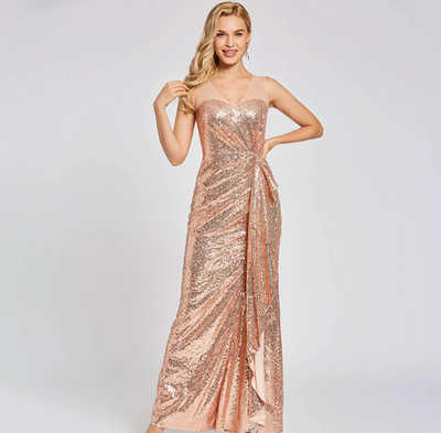PP179 Champagne sequins v neck Evening dress