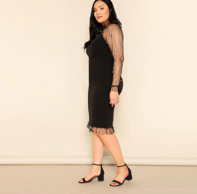 MX150 Plus Size Pearl Beaded Sheer Mesh  Pencil Dress