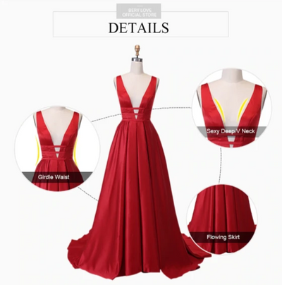 PP36 Sexy Deep V neck Satin Prom Dresses (14 colors)