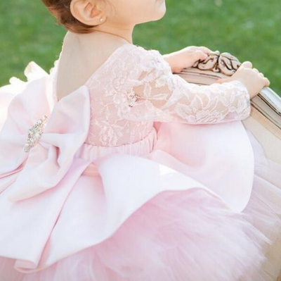FG124 Open back puffy flower girl dress
