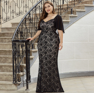 PP299 Plus size black V neck mermaid Evening dress