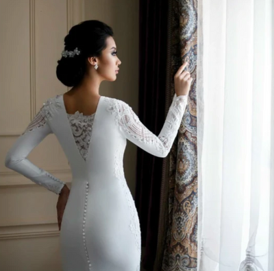 Classy long sleeves Appliqued Beaded Wedding Dress