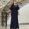 PP300 Plus Size navy blue mermaid Evening Dress